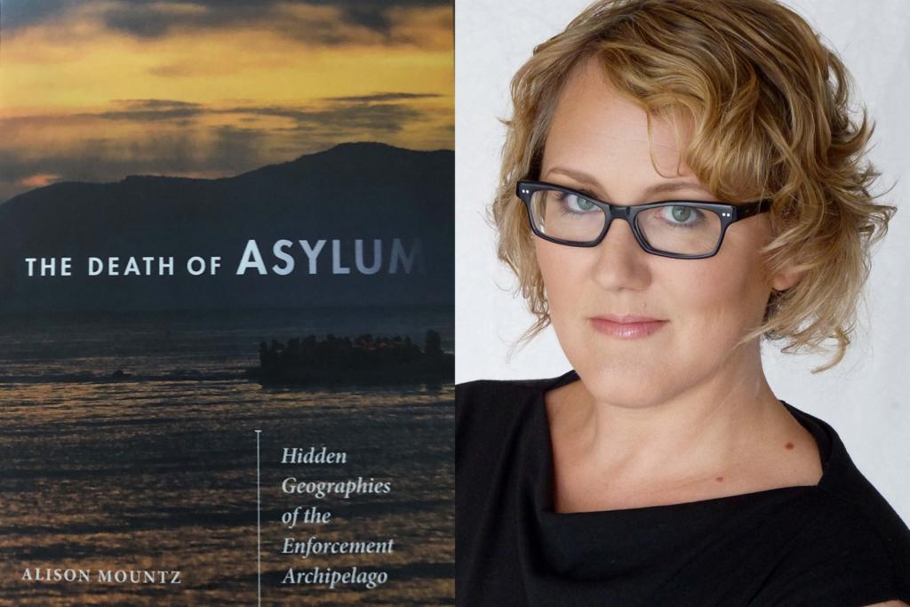 Death of Asylum book cover beside photo of Alison Mountz